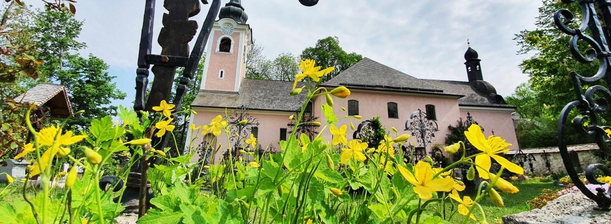 Frühlingshafter Blick auf die Wallfahrtskriche St. Jakob ©TVB Puch